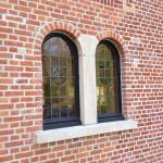 loodglas in houten ramen